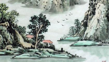花树古风手绘 素材